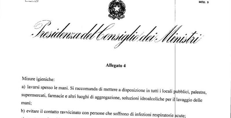 Decreto del Presidente del Consiglio: 1 marzo 2020
