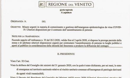 Ordinanza regionale: misure restrittive fino al 13 aprile
