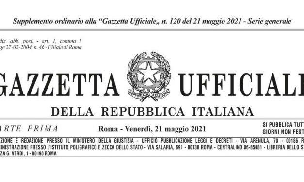 In Gazzetta Ufficiale il Decreto Sostegni – bis